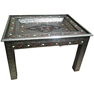 table marocaine en m tal d cor e d 39 os artisanat marocain. Black Bedroom Furniture Sets. Home Design Ideas