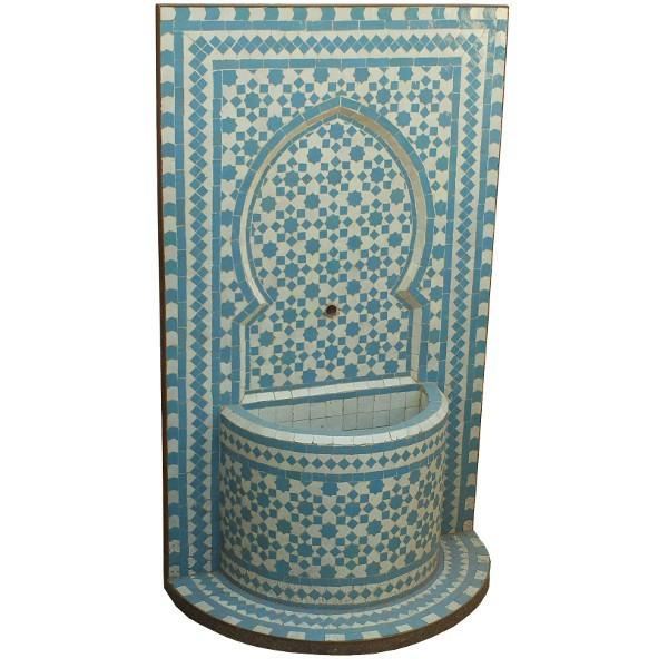 fontaine murale de jardin en zellige bleu artisanat marocain de marrakech. Black Bedroom Furniture Sets. Home Design Ideas
