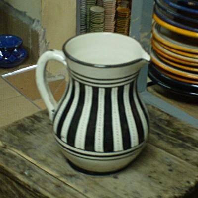 Black & White Moroccan Ceramic Pitcher