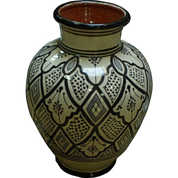 vase marocain en c ramique blanc et noir. Black Bedroom Furniture Sets. Home Design Ideas