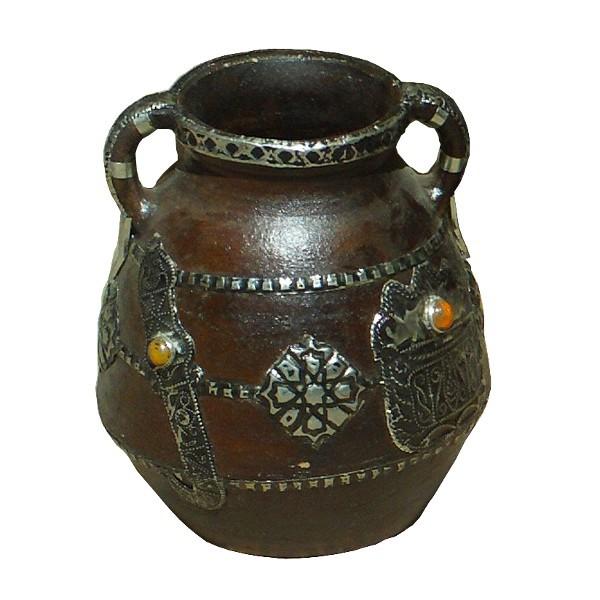 vase en terre cuite avec deux anses artisanat marocain de. Black Bedroom Furniture Sets. Home Design Ideas