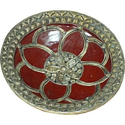 Plat marocain en céramique et fer argenté