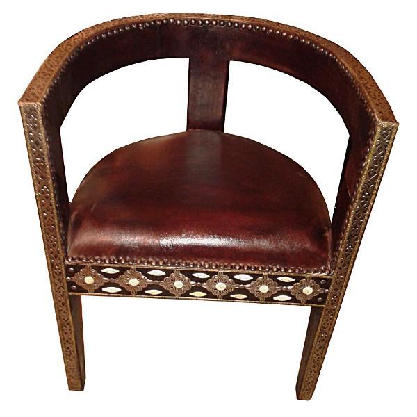 fauteuil marocain en m tal et cuir artisanat marocain. Black Bedroom Furniture Sets. Home Design Ideas