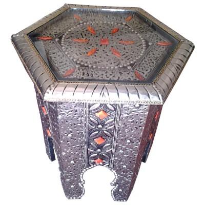 table de salon marocaine hexagonale d cor e de m tal et os artisanat marocain. Black Bedroom Furniture Sets. Home Design Ideas