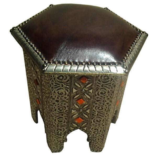Embossing Metal Amp Leather Stool Moroccan Handicraft Of