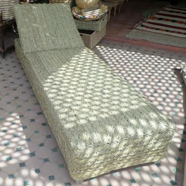 Relax en rotin et bois chaise transat artisanat marocain for Salon artisanat