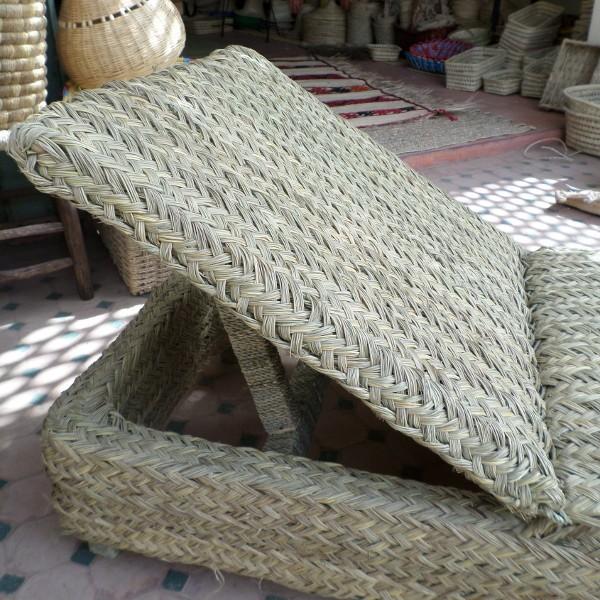 Relax en rotin et bois chaise transat artisanat marocain for Chaise bois et rotin