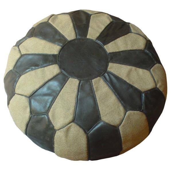 pouf marocain en cuir brun et toile de jute blanche coutures manuelles. Black Bedroom Furniture Sets. Home Design Ideas