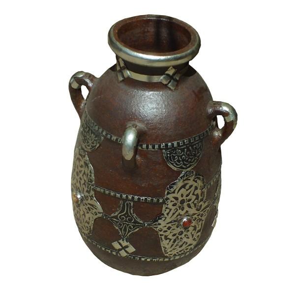 vase en terre cuite ferr de l 39 artisanat marocain de marrakech. Black Bedroom Furniture Sets. Home Design Ideas