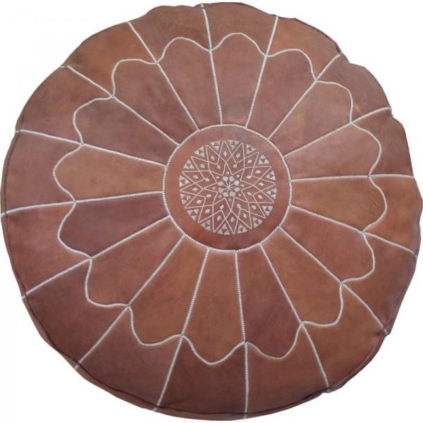 Pouf marocain artisanal en cuir