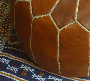 Pouf en cuir marocain