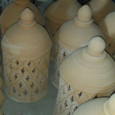 Lampe de jardin en terre cuite, Poterie du Maroc