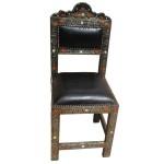 Chaise marocaine en métal et cuir