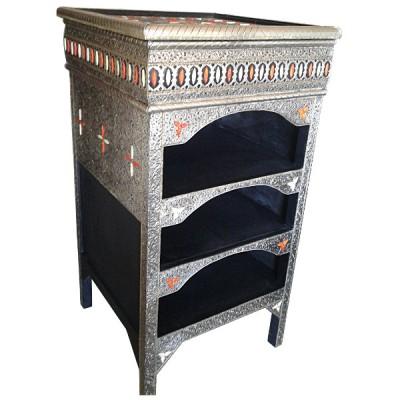 Meuble marocain décoration métal et os
