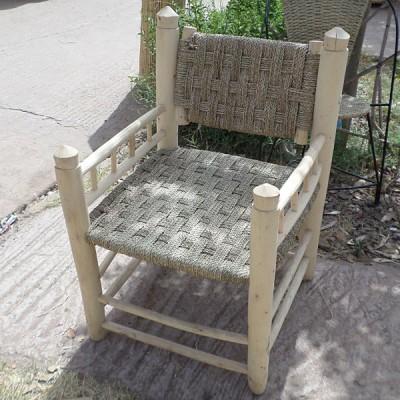 Fauteuil carré en rotin et bois
