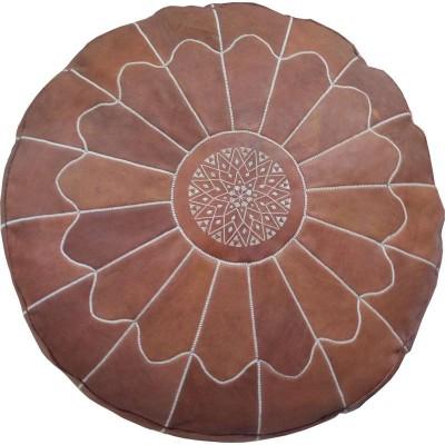 Grand pouf marocain en cuir